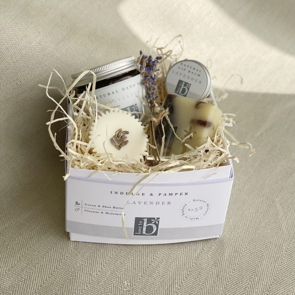 White lavender pamper box on a background of material