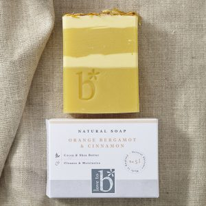 Yellow and cream natural orange bergamot and cinnamon soap