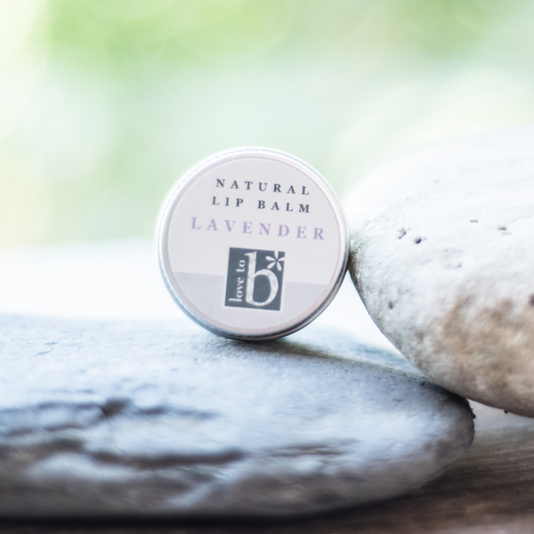 Natural lavender lip balm in a circular metal tin balanced on a rock in front of a green background