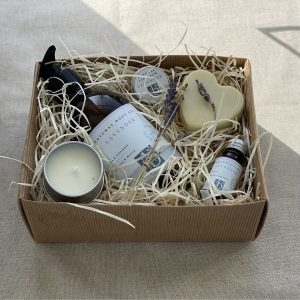 Natural lavender hamper in brown card box with a brown material background